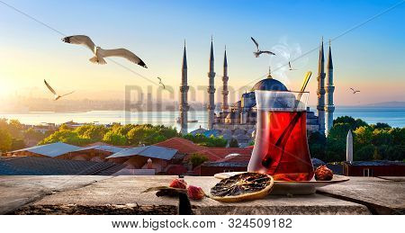 Tea And Blue Mosque And Bosphorus In Istanbul, Turkey