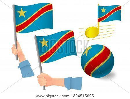 Democratic Republic Of The Congo Flag Icon Set. National Flag Of Democratic Republic Of The Congo Ve