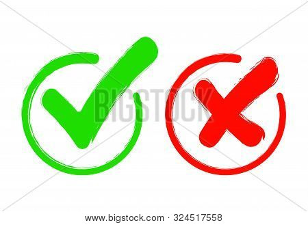 Check Mark Icon Set. Gree Tick And Red Cross Flat Simbol. Check Ok, Yes Or No, X Marks For Vote, Dec