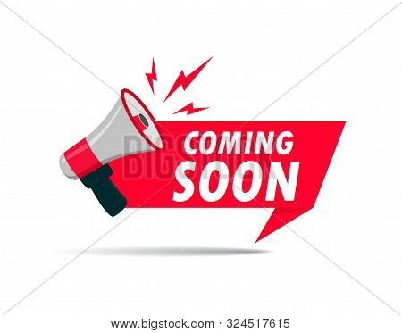 Red Ribbon With Megaphone And Text. Announce Promote Poster With Megaphone For Retail, Shop, Busines