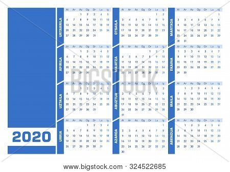 Blue 2020 Basque Calendar. Printable Landscape Version