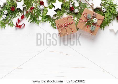 Christmas, New Year Or Noel Holiday Festive Winter Greeting Card With Decorations, Gift, X-mas Ornam