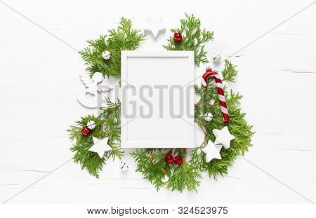 Christmas, New Year Or Noel Holiday Festive Winter Greeting Card With Decorations, Frame, X-mas Orna