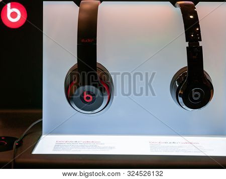Moscow, Russia - September 14, 2019: Beats Solo 3 Wireless Headphones On Display In Gadgets Store. B