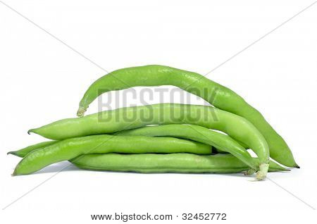 a pile of broad bean pods with the beans inside on a white background