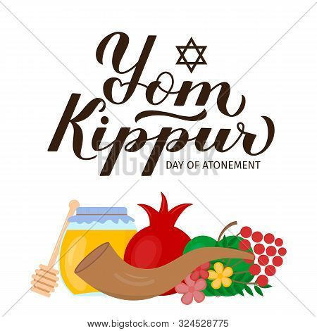 Yom Kippur Day Of Atonement Calligraphy Hand Lettering With Traditional Jewish Symbols. Israel Holid