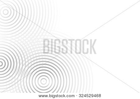 Abstract Black Circle Ring Effect With Sound Waves Oscillating On White Background