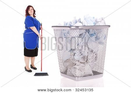 cleaner stands near the big basket with garbage