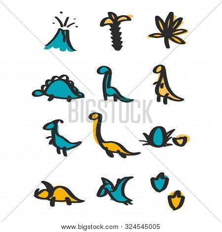 Vector Hand Drawn Dinosaur Set Of Icons In Doodle Style For Children Textile, Logo. Icon Set Of Diff