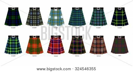 Images Of Kilts Or Skirts From Some Clan Tartans. Simplified Tartan Pattern