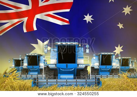 Many Blue Farming Combine Harvesters On Grain Field With Australia Flag Background - Front View, Sto