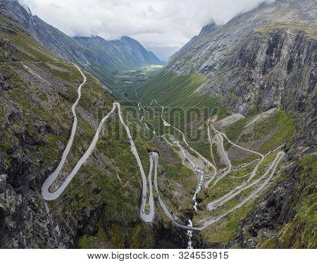 Trollstigen Or Trolls Path Trollstigveien Famous Serpentine Mountain Road Panorama From Viewpoint In