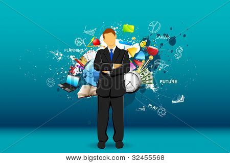 illustration of standing businessman with object all around