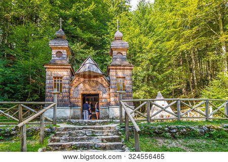 Kranjska Gora,slovenia - September 3,2019 - View At The Russian Chapel In Mountains Near Kranjska Go
