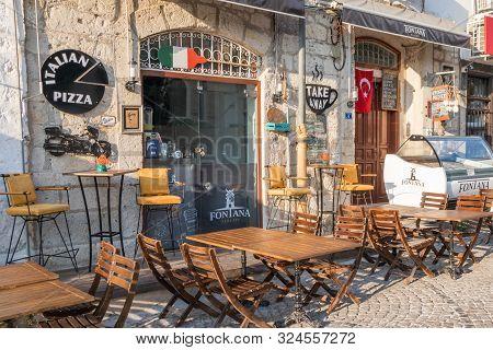 Alacati, Turkey - September 3rd 2019: Italian Pizza Restaurant  And Ice Cream Parlour. The Town Is A