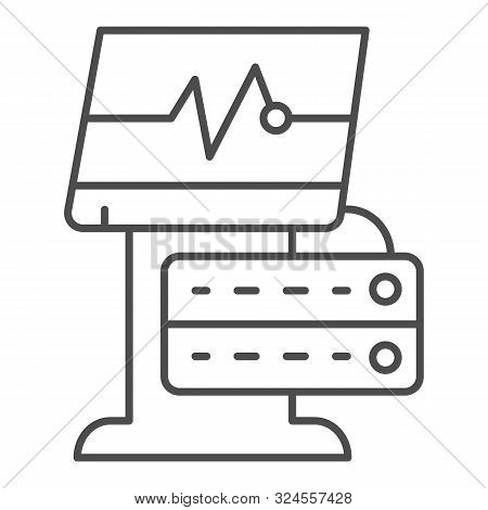 Ekg Device Thin Line Icon. Medical Monitor Vector Illustration Isolated On White. Electrocardiogram