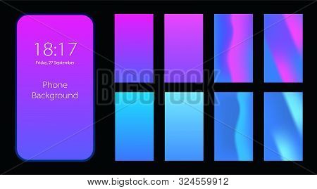 Phone Gradient Background With Saturated Colors. Pink And Blue Colors Abstract Background. Applicabl