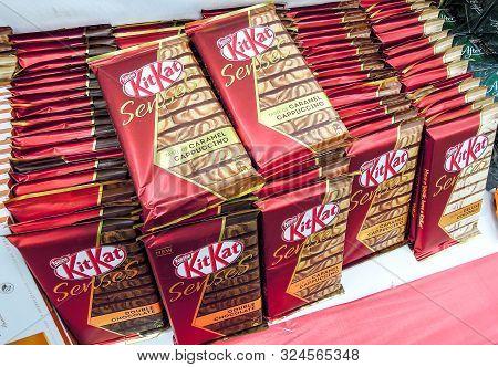 Samara, Russia - September 26, 2019: Various Fresh Kitkat Chocolate Ready For Sale On The Shelves In