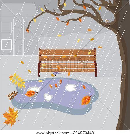 Vector Illustration Of Autumn Cold Rain, Gloomy, Wet Bench, Hidden Birds, Falling Autumn Leaves, Glo