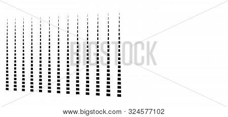 3D Dashed Lines Geometric Pattern. Irregular Stripes In Perspective. Segmented Streaks. Straight Par