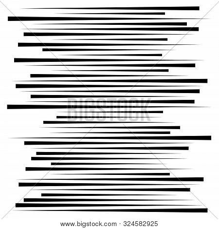 Random Lines Element. Random Horizontal Lines. Irregular Straight, Parallel Stripes. Strips, Streaks