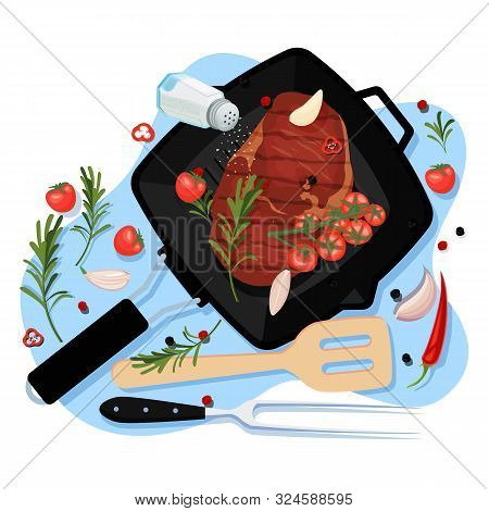 Cooking Beef Filet, Vector Cartoon Top View Illustration. Black Grill Pan With Fried Ribeye Steak Or