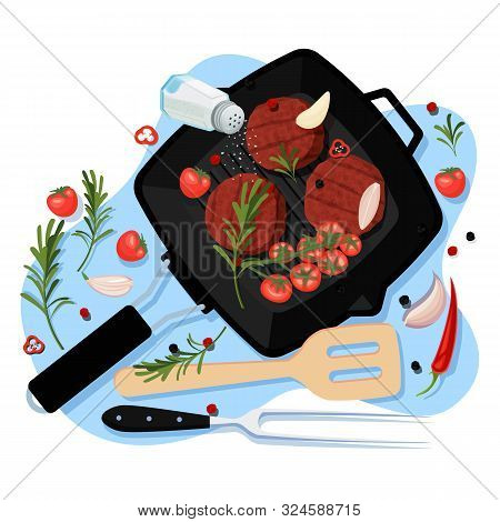 Cooking Cutlets For Burger, Vector Cartoon Top View Illustration. Black Grill Pan With Fried Homemad