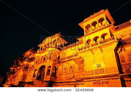 Stock Photo: Monkey temple Galwar Bagh in Jaipur, India