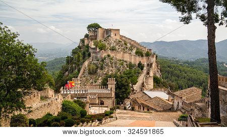 Xativa, Valenciana, Spain - Sept 17 2019 : View Of Xativa Small Castle From Walls Of Larger Castle W