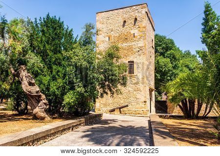 An Old Square Tower In Park With Cannon, Surrounded By Palms And Trees Near Main Square In Pollenca,