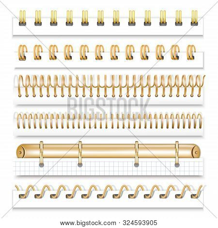 A Set Of Gold Springs For Notebooks And Calendars. Spiral Bindings For Sheets Of Paper. Isolated On