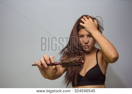 Woman Loosing Hair Holding Comb. Young Girl Losing Hair Problem, Hair Lost Falling Out On Brush. Tre