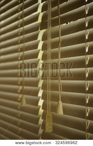 Two Closed Horizontal Blinds With Rope And Handle, Closeup.