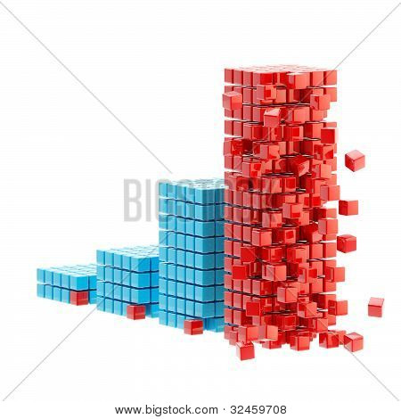 Collapse: ruined bar graph isolated