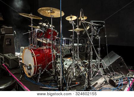 Kit Of Drums With Sound Portal On Stage