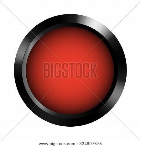 Realistic Blank Red Record Button Template In Dark Metal Frame. Icon For Application And Web Product