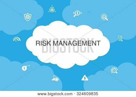 Risk Management Infographic Cloud Design Template. Control, Identify, Level Of Risk, Analyze Icons