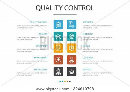 Quality Control Infographic 10 Option Concept. Analysis, Improvement, Service Level, Excellent Icons