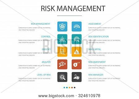 Risk Management Infographic 10 Option Concept. Control, Identify, Level Of Risk, Analyze Icons
