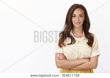 Time To Deal Business. Professional Ambitious Good-looking Young Female Entrepreneur Cross Arms And