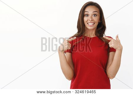 Porud Energized Cute Young Female Volunteer Pointing Herself, Smiling Cheerful Bragging Own Accompli