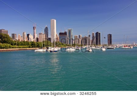 Colorful Chicago Skyline On A Clear Day