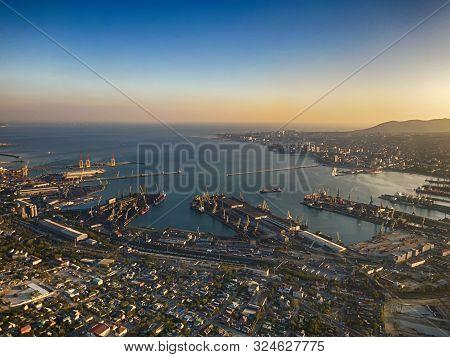 Hdr Panarama Of Port City. Novorossiysk, Russia
