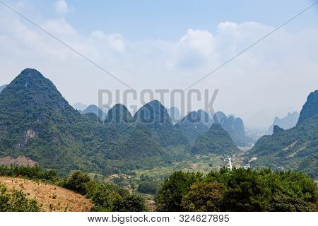 Mountain Range In Yangshuo Guilin On A Clear Sunny Day