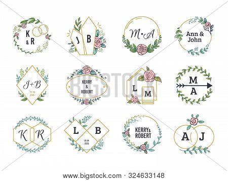 Wedding Logos. Floral Boho Monograms And Frames For Wedding Invitation Cards With Minimalistic Eleme