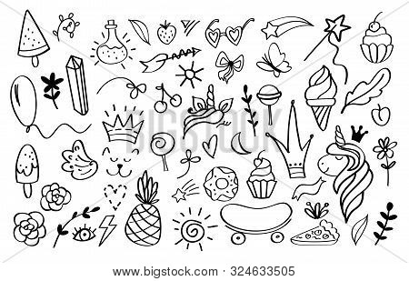 Doodle Elements. Sketch Decoration Design Templates For Invitation And Greeting Cards. Vector Image