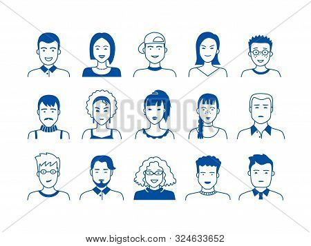 Avatar Line Icons. Hand Drawn People Cartoon Faces, Cute Boys And Girls Teen Persons, Modern Vector
