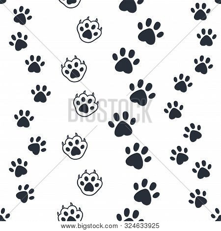 Cat Paw Pattern. Seamless Dog Foot Print, Wild Animal And Pat Sunny Paws Silhouettes For Background.