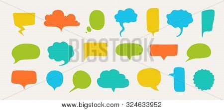 Hand Drawn Speech Bubbles. Doodle Text Shapes Elements With Rough Edges And Noisy Grunge Texture. Ve