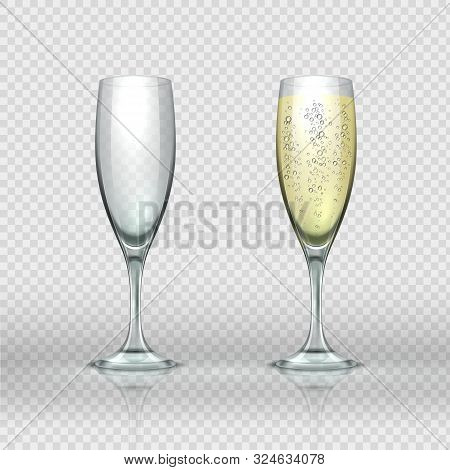 Realistic Champagne Glass. Empty And Full Transparent Champagne Wine Glasses. Vector Isolated Realis